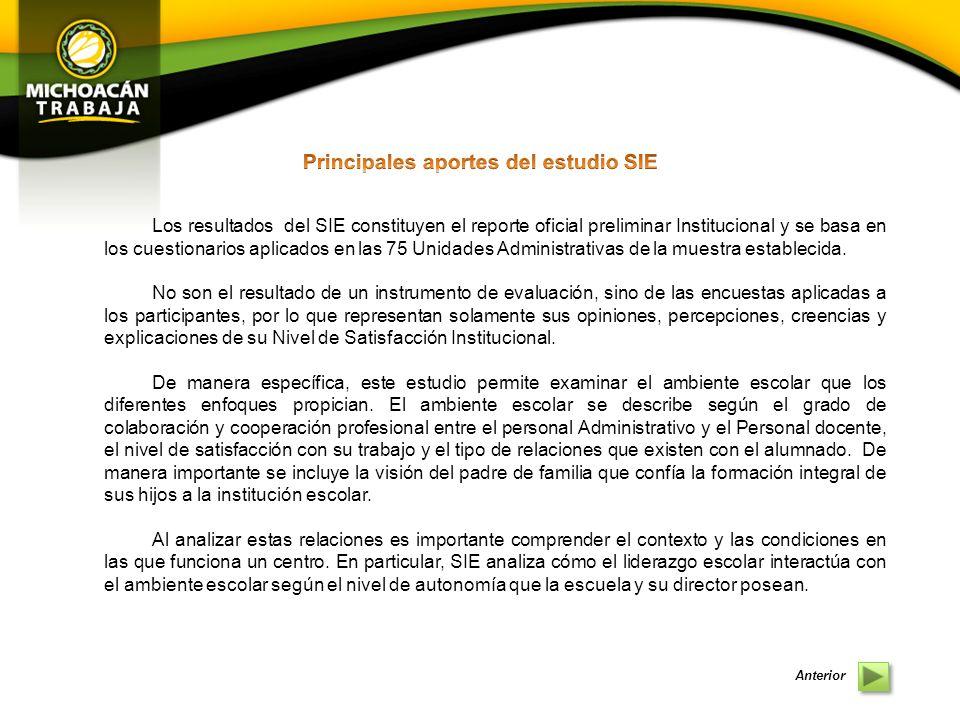 Los resultados del SIE constituyen el reporte oficial preliminar Institucional y se basa en los cuestionarios aplicados en las 75 Unidades Administrativas de la muestra establecida.