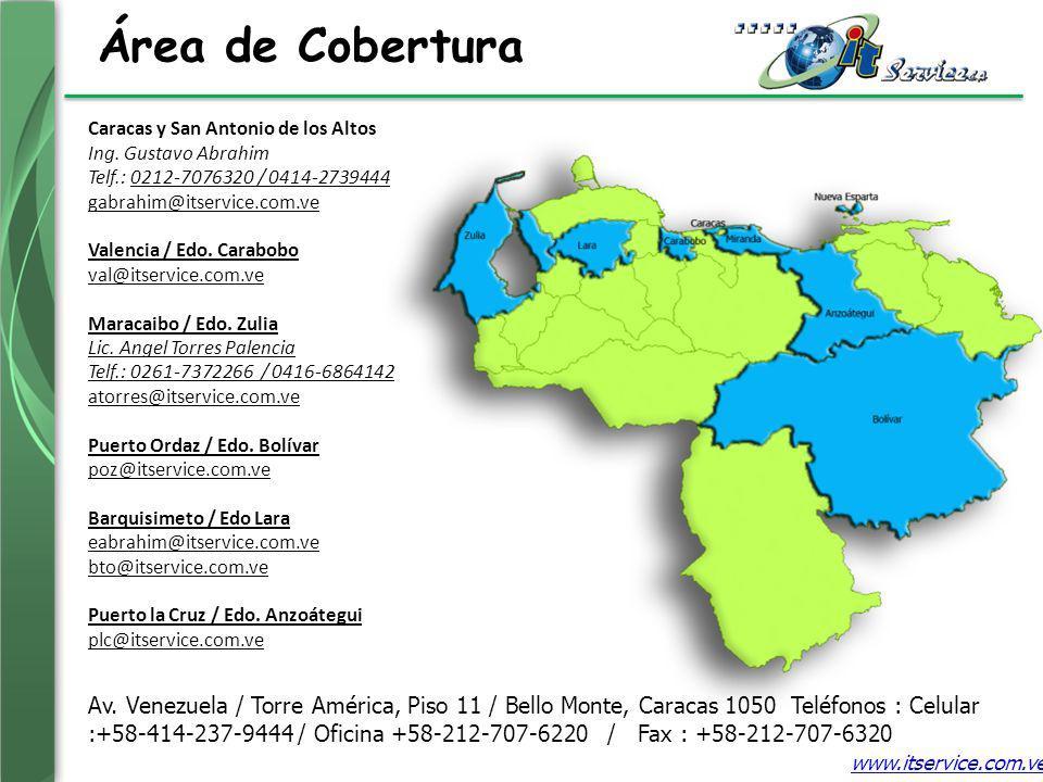 Área de Cobertura Caracas y San Antonio de los Altos Ing. Gustavo Abrahim Telf.: 0212-7076320 / 0414-2739444 gabrahim@itservice.com.ve Valencia / Edo.