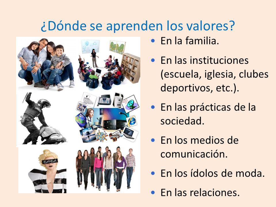 ¿Dónde se aprenden los valores.En la familia.