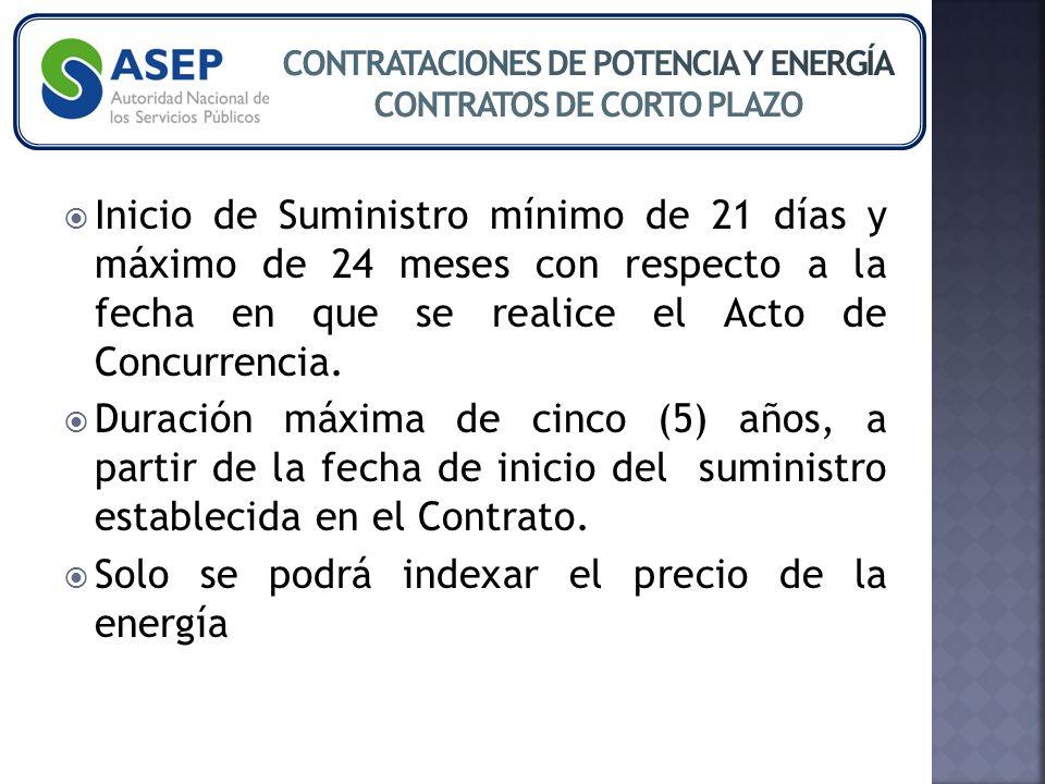 Inicio de Suministro mínimo de 21 días y máximo de 24 meses con respecto a la fecha en que se realice el Acto de Concurrencia.
