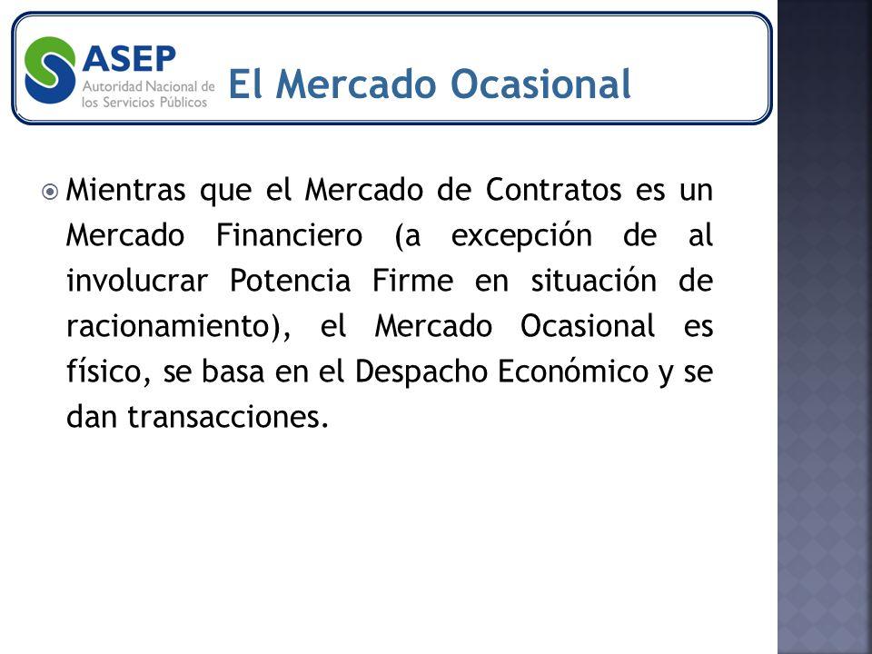 Mientras que el Mercado de Contratos es un Mercado Financiero (a excepción de al involucrar Potencia Firme en situación de racionamiento), el Mercado Ocasional es físico, se basa en el Despacho Económico y se dan transacciones.
