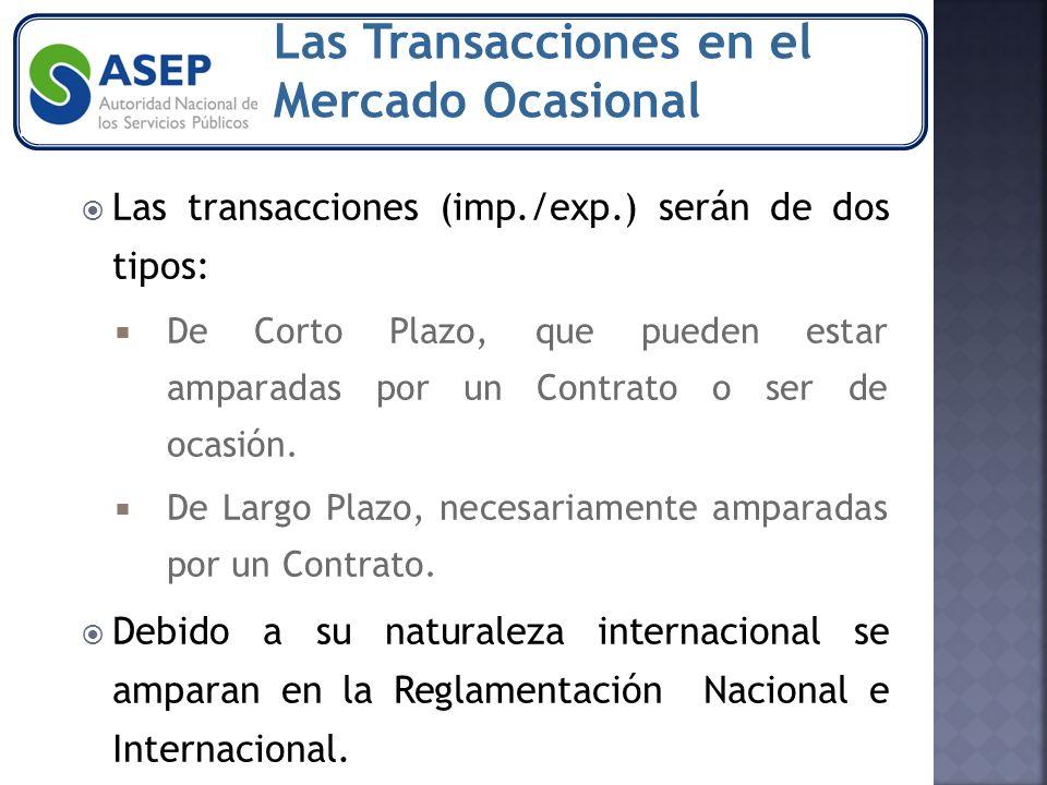 Las transacciones (imp./exp.) serán de dos tipos: De Corto Plazo, que pueden estar amparadas por un Contrato o ser de ocasión.