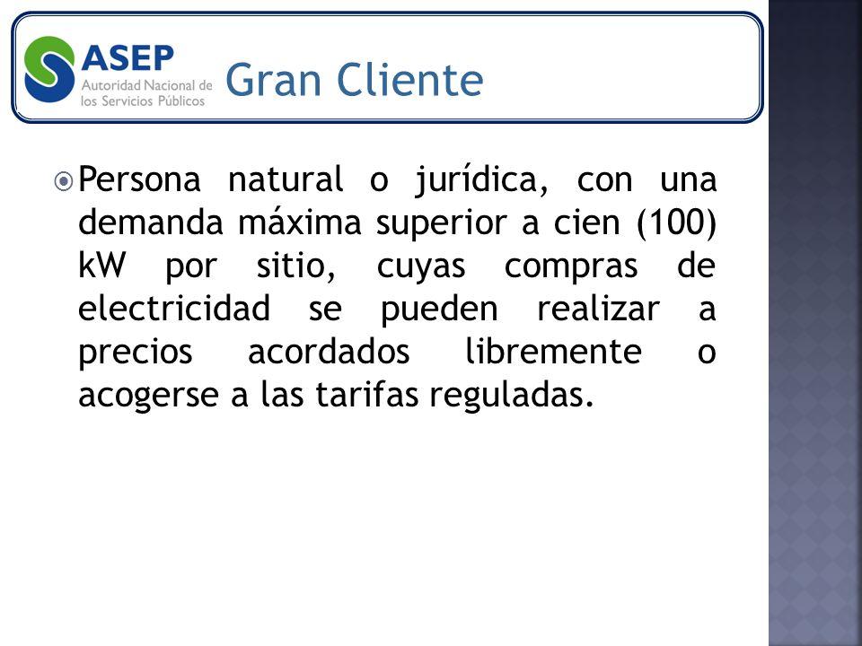Persona natural o jurídica, con una demanda máxima superior a cien (100) kW por sitio, cuyas compras de electricidad se pueden realizar a precios acordados libremente o acogerse a las tarifas reguladas.