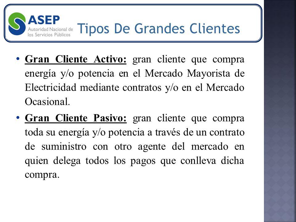 Gran Cliente Activo: gran cliente que compra energía y/o potencia en el Mercado Mayorista de Electricidad mediante contratos y/o en el Mercado Ocasional.