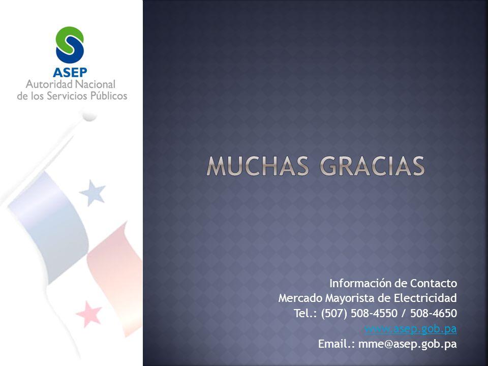 Información de Contacto Mercado Mayorista de Electricidad Tel.: (507) 508-4550 / 508-4650 www.asep.gob.pa Email.: mme@asep.gob.pa