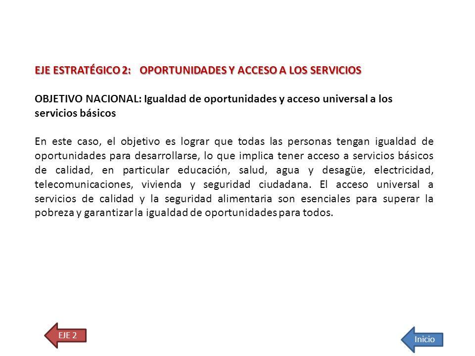 EJE ESTRATÉGICO 2: OPORTUNIDADES Y ACCESO A LOS SERVICIOS OBJETIVO NACIONAL: Igualdad de oportunidades y acceso universal a los servicios básicos En e