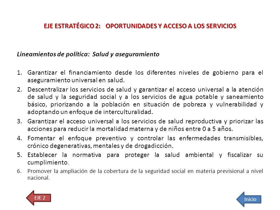 Lineamientos de política: Salud y aseguramiento 1.Garantizar el financiamiento desde los diferentes niveles de gobierno para el aseguramiento universa