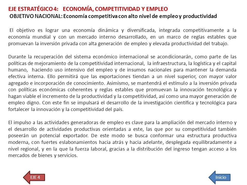 EJE ESTRATÉGICO 4: ECONOMÍA, COMPETITIVIDAD Y EMPLEO OBJETIVO NACIONAL: Economía competitiva con alto nivel de empleo y productividad El objetivo es l