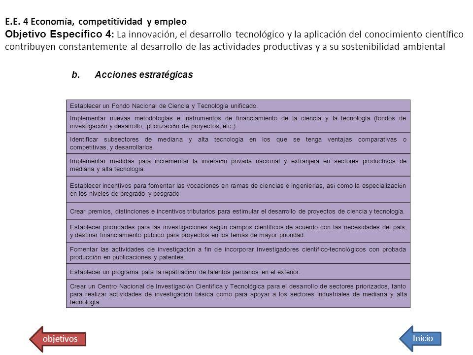 E.E. 4 Economía, competitividad y empleo Objetivo Específico 4 : La innovación, el desarrollo tecnológico y la aplicación del conocimiento científico