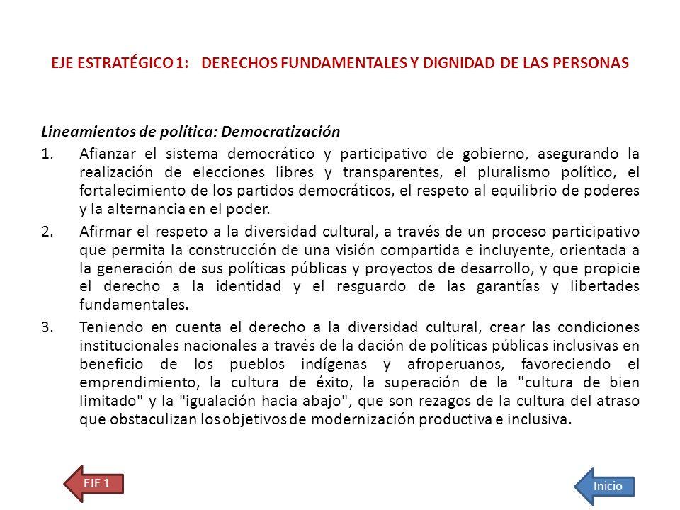 Lineamientos de política: Democratización 1.Afianzar el sistema democrático y participativo de gobierno, asegurando la realización de elecciones libre