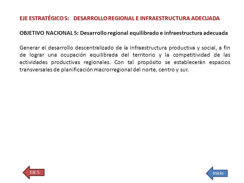 EJE ESTRATÉGICO 5: DESARROLLO REGIONAL E INFRAESTRUCTURA ADECUADA OBJETIVO NACIONAL 5: Desarrollo regional equilibrado e infraestructura adecuada Gene