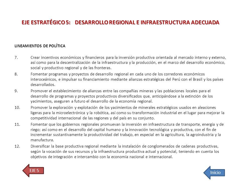 LINEAMIENTOS DE POLÍTICA 7.Crear incentivos económicos y financieros para la inversión productiva orientada al mercado interno y externo, así como par