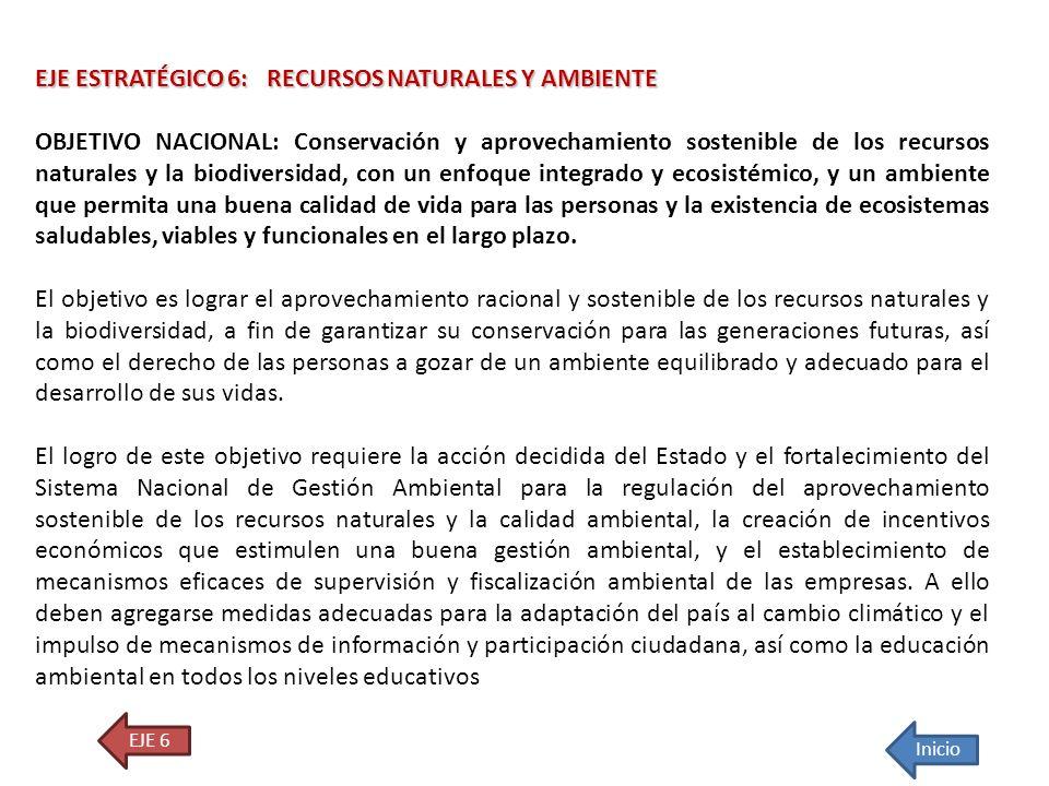 EJE ESTRATÉGICO 6: RECURSOS NATURALES Y AMBIENTE OBJETIVO NACIONAL: Conservación y aprovechamiento sostenible de los recursos naturales y la biodivers