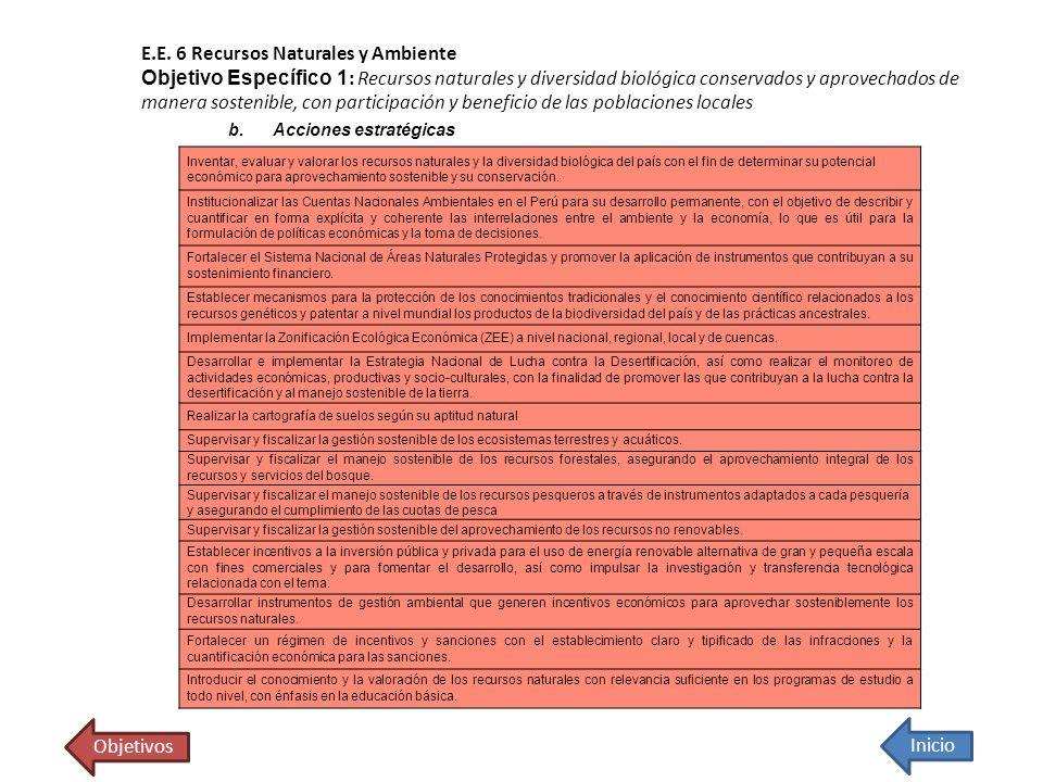 E.E. 6 Recursos Naturales y Ambiente Objetivo Específico 1 : Recursos naturales y diversidad biológica conservados y aprovechados de manera sostenible