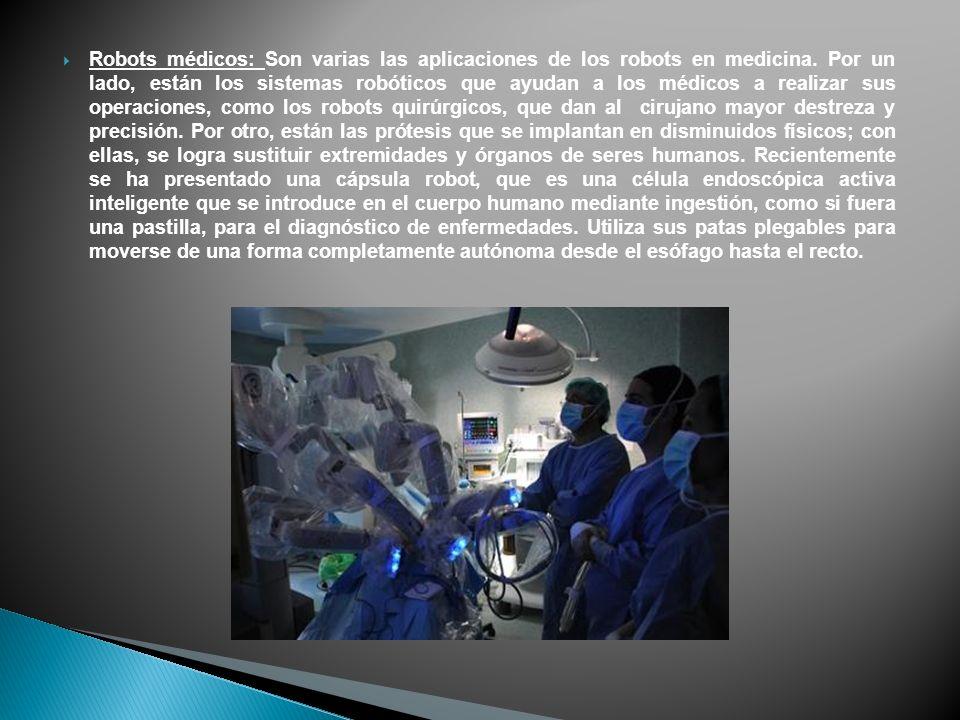 Robots médicos: Son varias las aplicaciones de los robots en medicina.