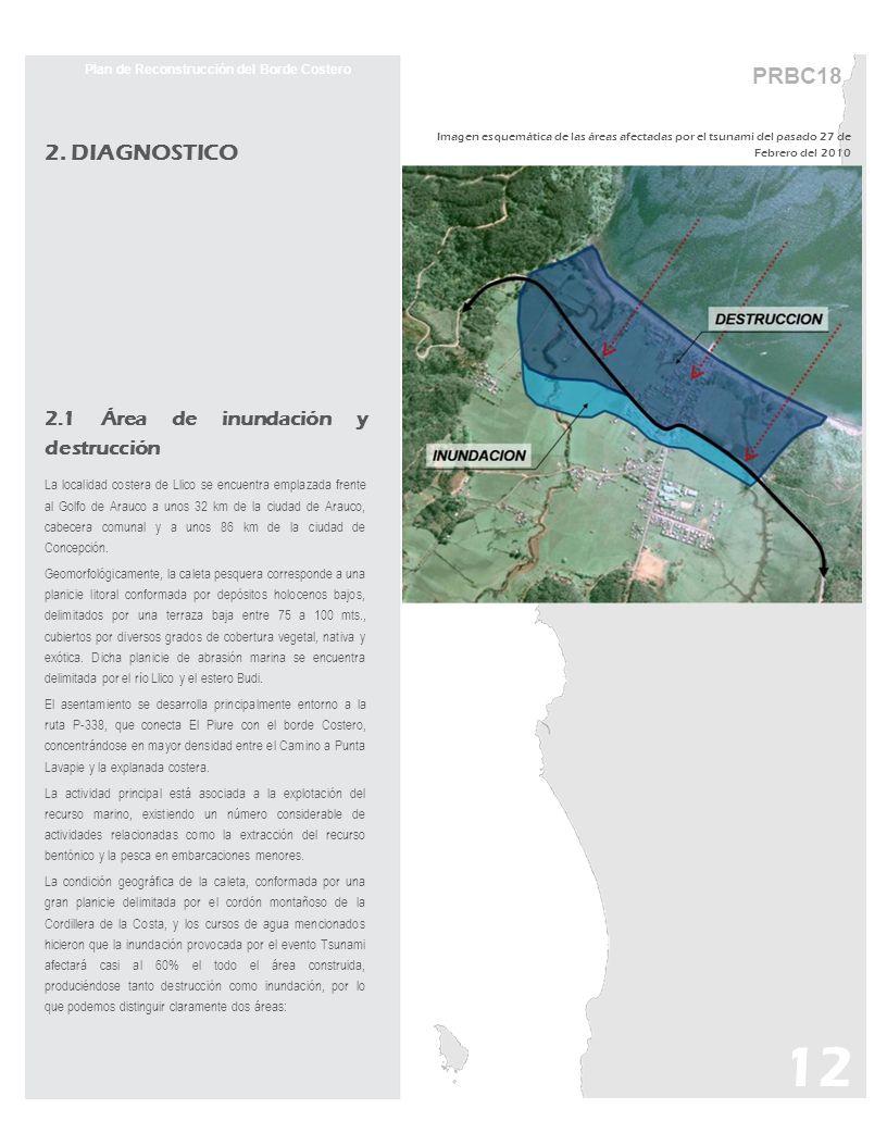 PRBC18 Plan de Reconstrucción del Borde Costero 2. DIAGNOSTICO 2.1 Área de inundación y destrucción La localidad costera de Llico se encuentra emplaza