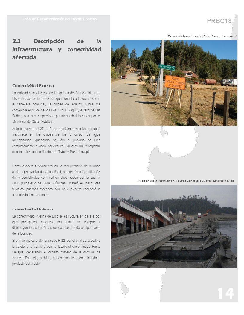 PRBC18 Plan de Reconstrucción del Borde Costero 2.3 Descripción de la infraestructura y conectividad afectada Conectividad Externa La vialidad estruct