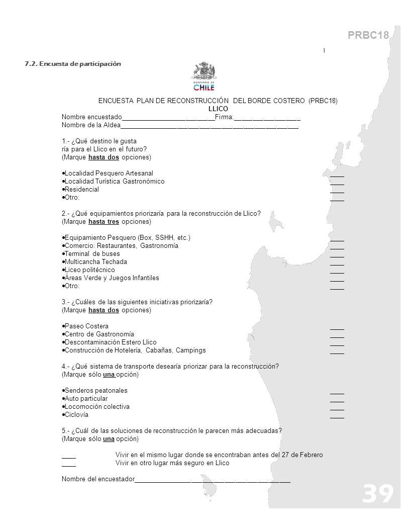 PRBC18 7.2. Encuesta de participación ENCUESTA PLAN DE RECONSTRUCCIÓN DEL BORDE COSTERO (PRBC18) LLICO Nombre encuestado__________________________Firm