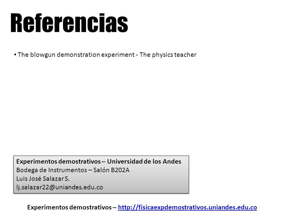 Referencias Experimentos demostrativos – http://fisicaexpdemostrativos.uniandes.edu.cohttp://fisicaexpdemostrativos.uniandes.edu.co The blowgun demons