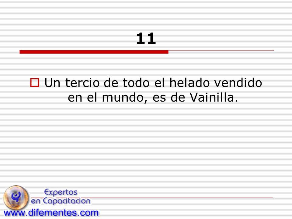 11 Un tercio de todo el helado vendido en el mundo, es de Vainilla.