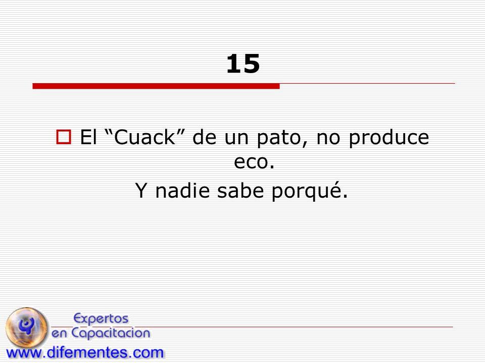 15 El Cuack de un pato, no produce eco. Y nadie sabe porqué.