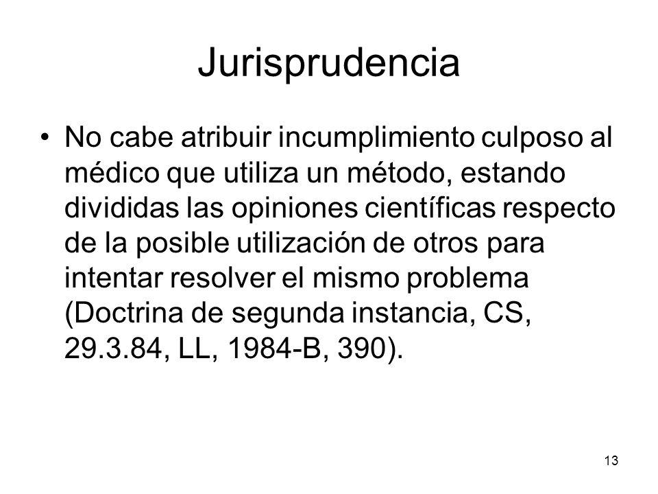 13 Jurisprudencia No cabe atribuir incumplimiento culposo al médico que utiliza un método, estando divididas las opiniones científicas respecto de la