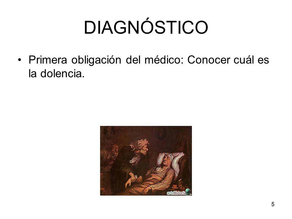 6 DIAGNÓSTICO Ubicuidad taxonómica actualizada de la dolencia (O.M.S.) No tratar a un paciente hasta no obtener el mejor de los diagnósticos posibles (Primum non nocere: primero no dañar).