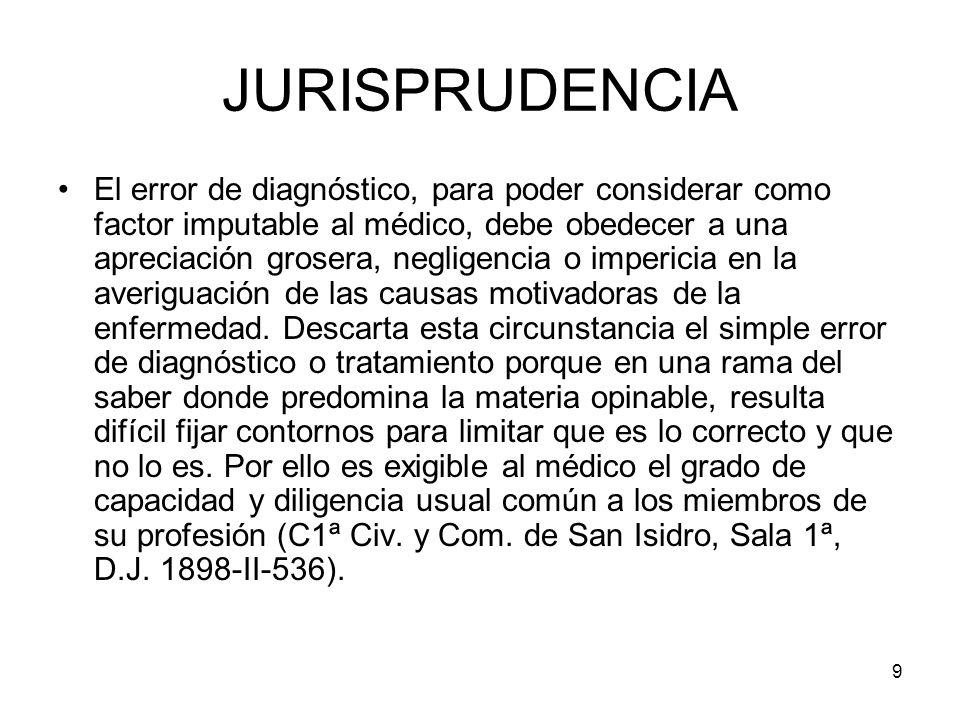 9 JURISPRUDENCIA El error de diagnóstico, para poder considerar como factor imputable al médico, debe obedecer a una apreciación grosera, negligencia