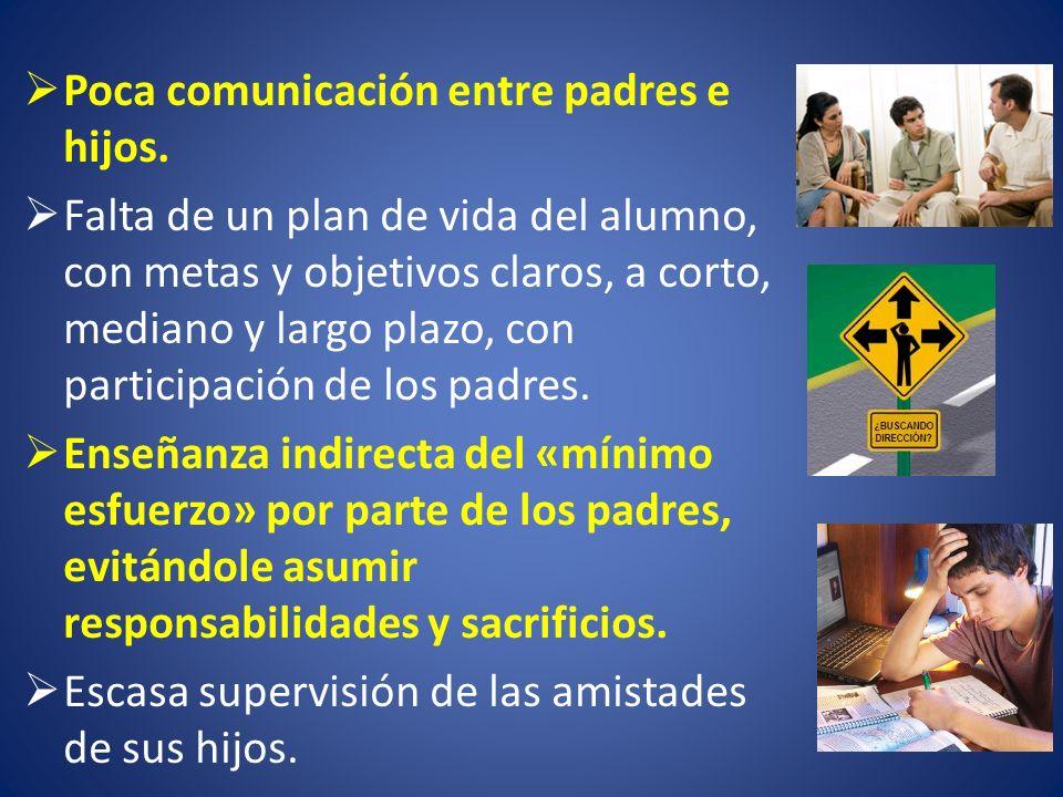 Poca comunicación entre padres e hijos. Falta de un plan de vida del alumno, con metas y objetivos claros, a corto, mediano y largo plazo, con partici