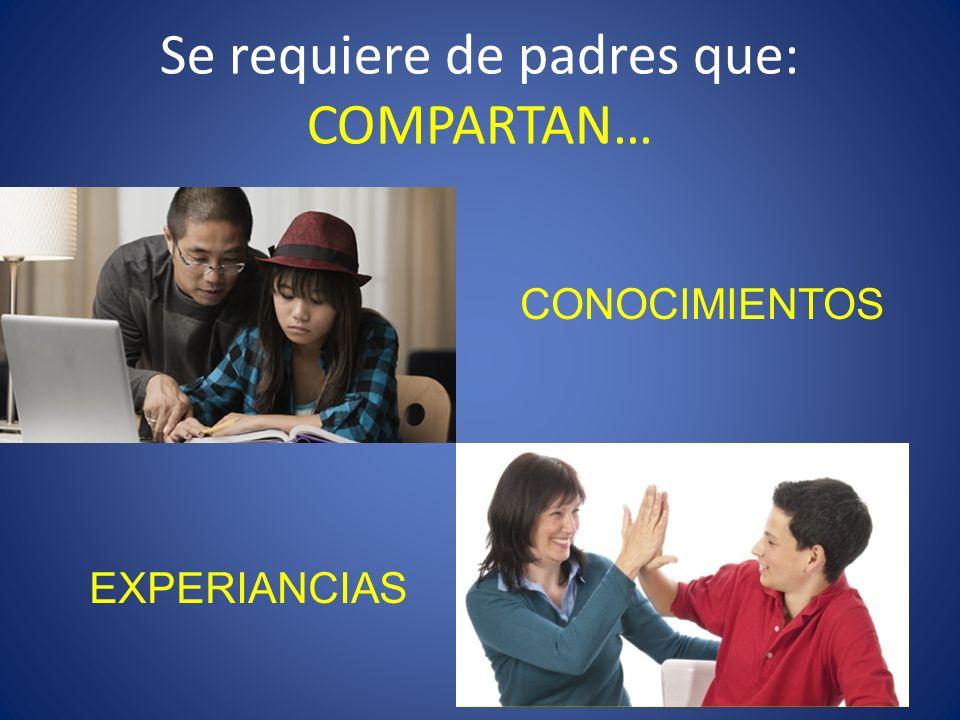 Se requiere de padres que: COMPARTAN… CONOCIMIENTOS EXPERIANCIAS