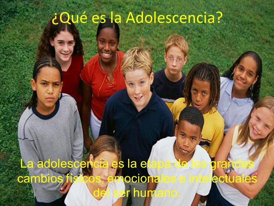 ¿Qué es la Adolescencia? La adolescencia es la etapa de los grandes cambios físicos, emocionales e intelectuales del ser humano.