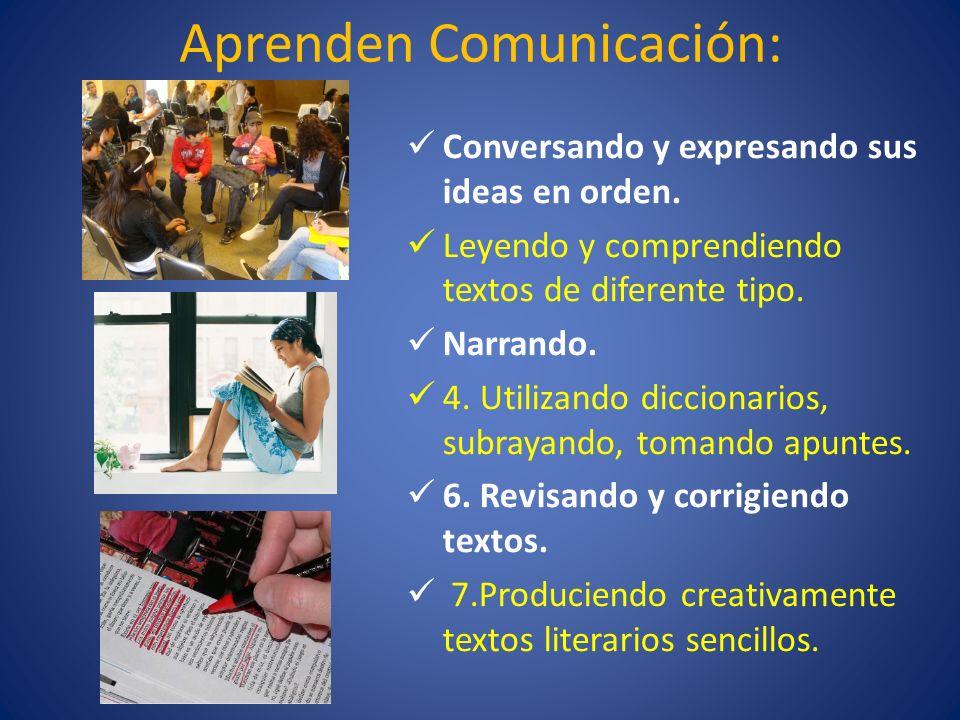 Aprenden Comunicación: Conversando y expresando sus ideas en orden. Leyendo y comprendiendo textos de diferente tipo. Narrando. 4. Utilizando dicciona