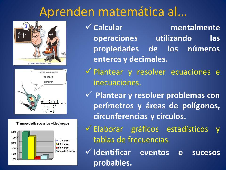 Aprenden matemática al… Calcular mentalmente operaciones utilizando las propiedades de los números enteros y decimales. Plantear y resolver ecuaciones