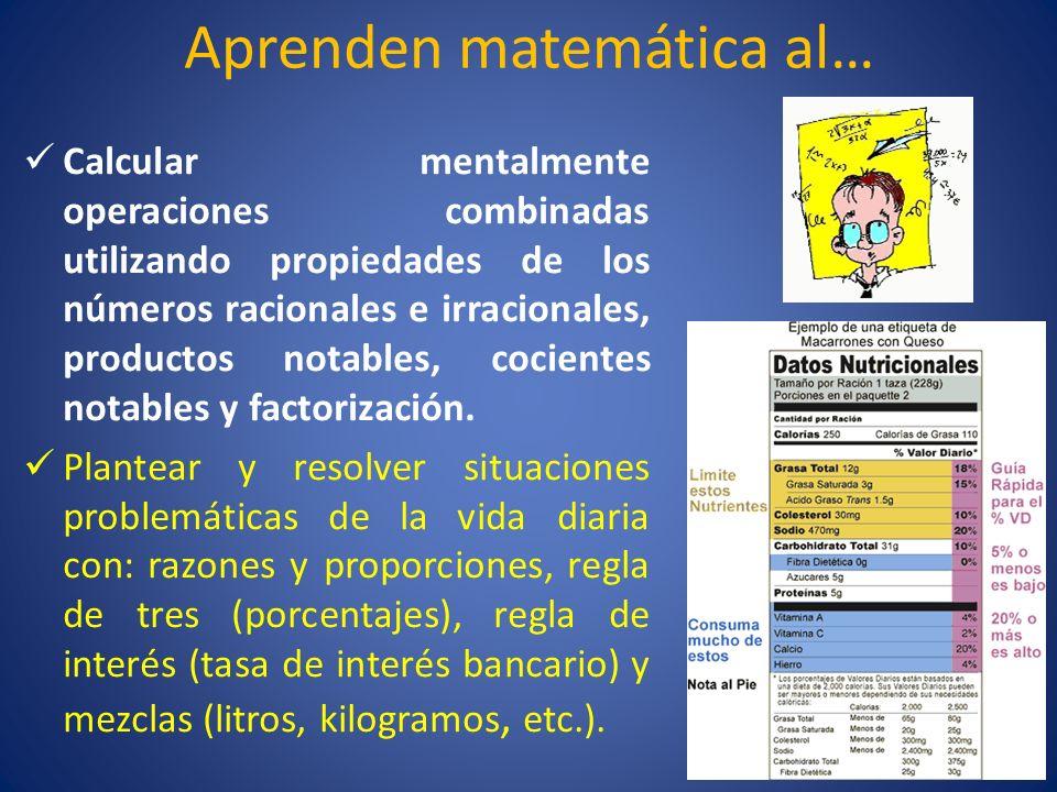 Aprenden matemática al… Calcular mentalmente operaciones combinadas utilizando propiedades de los números racionales e irracionales, productos notable