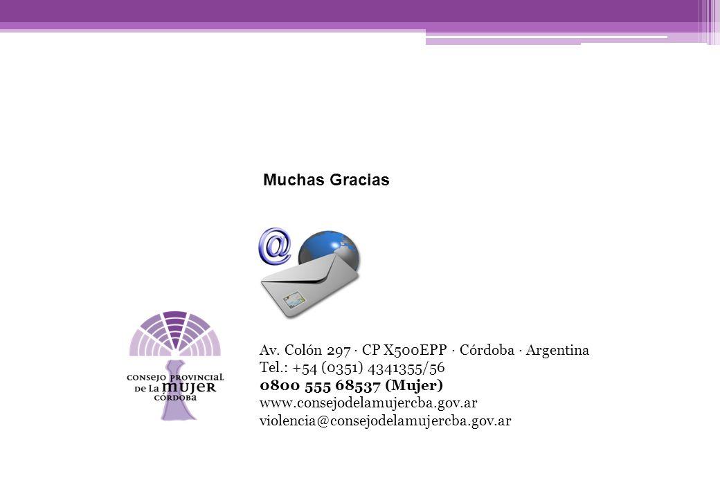 Av. Colón 297 · CP X500EPP · Córdoba · Argentina Tel.: +54 (0351) 4341355/56 0800 555 68537 (Mujer) www.consejodelamujercba.gov.ar violencia@consejode