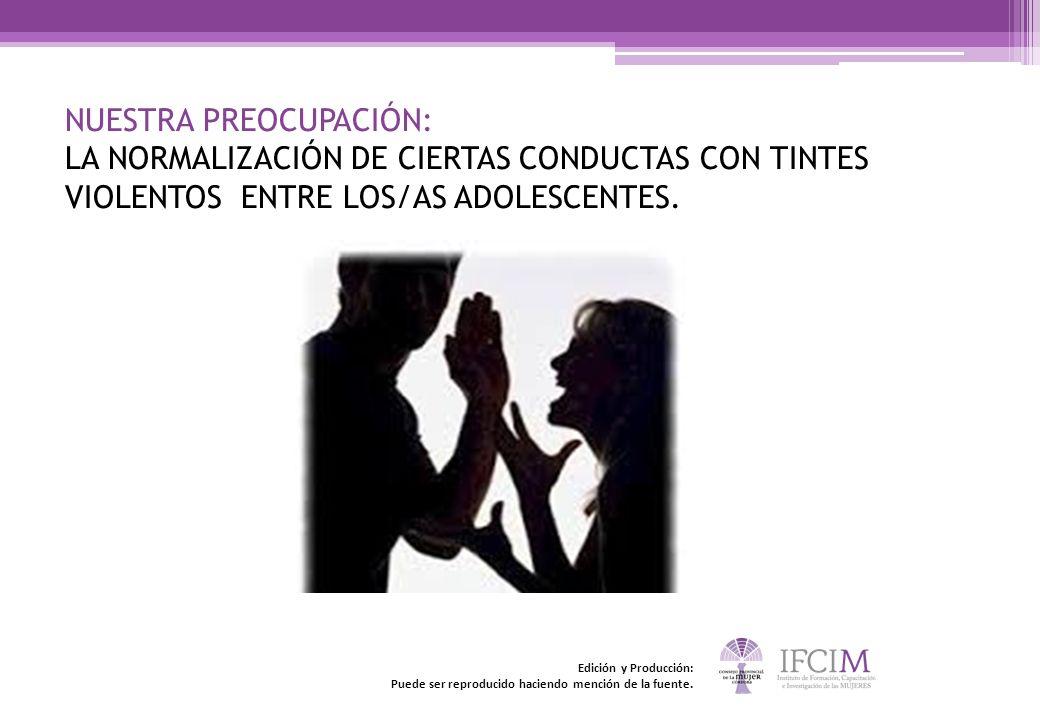 NUESTRA PREOCUPACIÓN: LA NORMALIZACIÓN DE CIERTAS CONDUCTAS CON TINTES VIOLENTOS ENTRE LOS/AS ADOLESCENTES. Edición y Producción: Puede ser reproducid