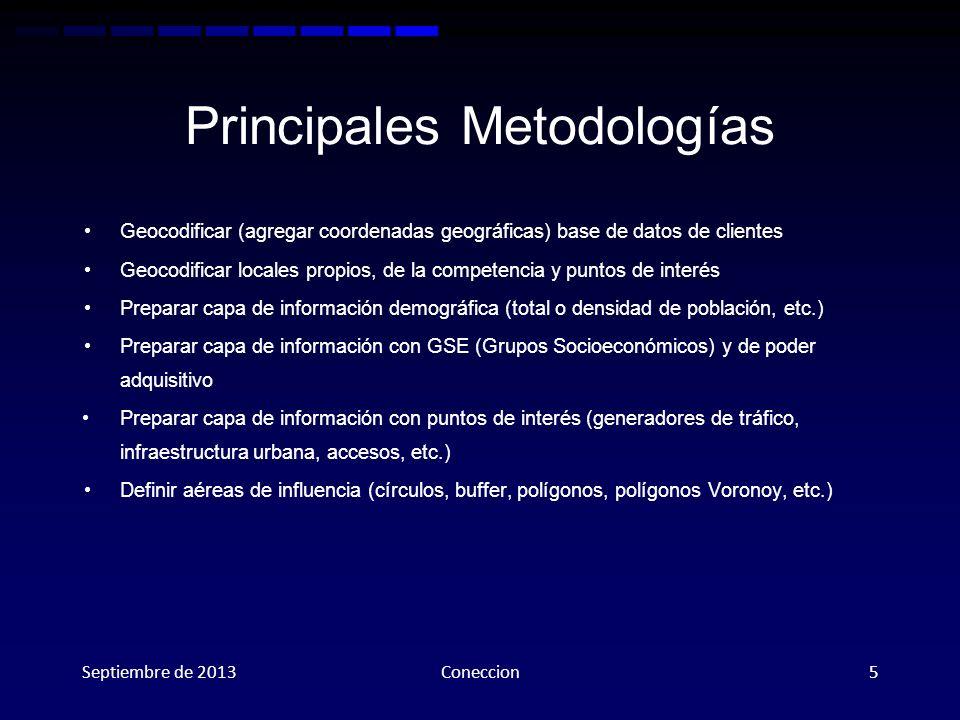 Principales Metodologías Geocodificar (agregar coordenadas geográficas) base de datos de clientes Geocodificar locales propios, de la competencia y pu