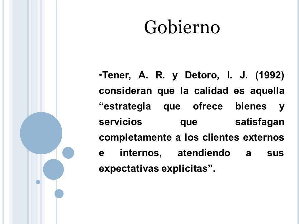 Gobierno Tener, A. R. y Detoro, I. J.