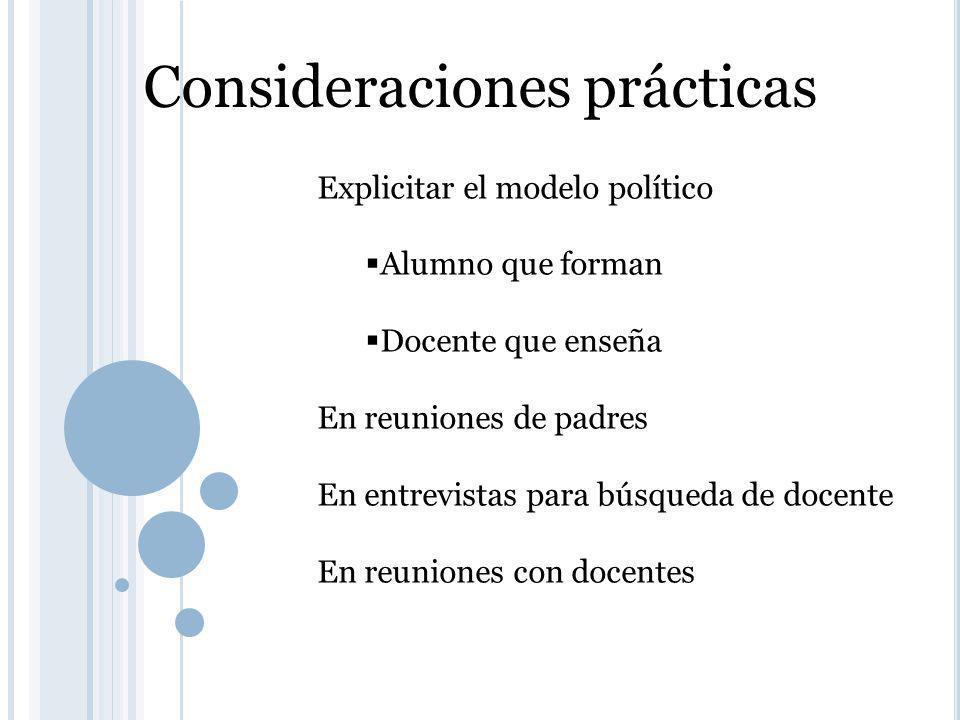 Consideraciones prácticas Explicitar el modelo político Alumno que forman Docente que enseña En reuniones de padres En entrevistas para búsqueda de docente En reuniones con docentes