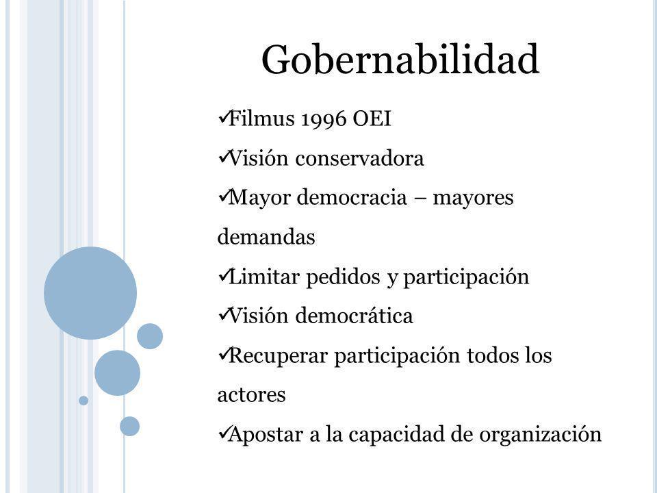Gobernabilidad Filmus 1996 OEI Visión conservadora Mayor democracia – mayores demandas Limitar pedidos y participación Visión democrática Recuperar participación todos los actores Apostar a la capacidad de organización