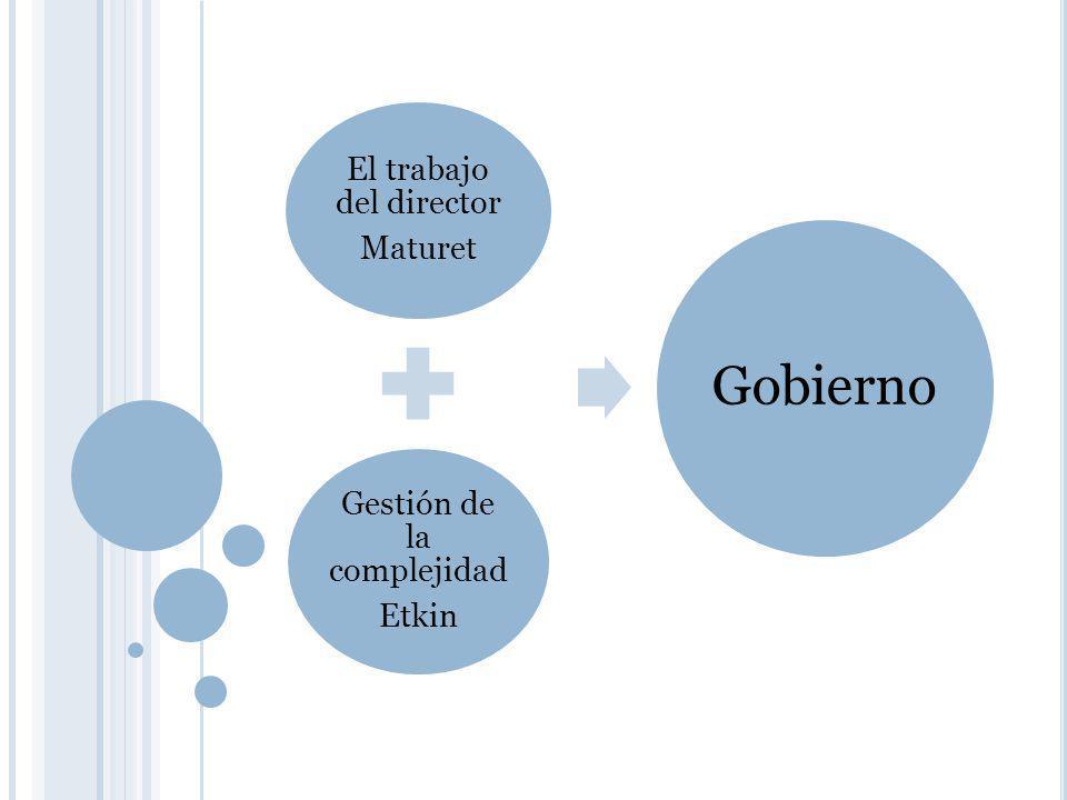 El trabajo del director Maturet Gestión de la complejidad Etkin Gobierno