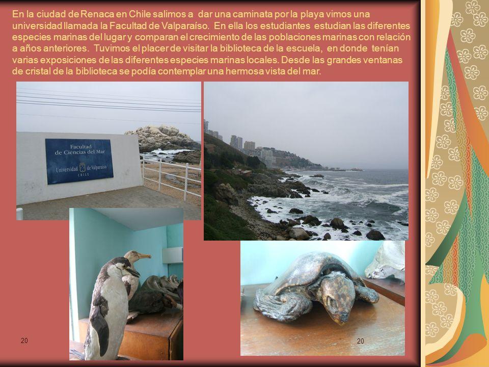 20 En la ciudad de Renaca en Chile salimos a dar una caminata por la playa vimos una universidad llamada la Facultad de Valparaíso.