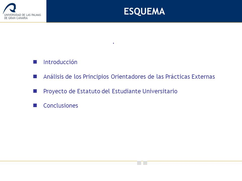 Vicerrectorado de Calidad e Innovación Educativa. ESQUEMA Introducción Análisis de los Principios Orientadores de las Prácticas Externas Proyecto de E