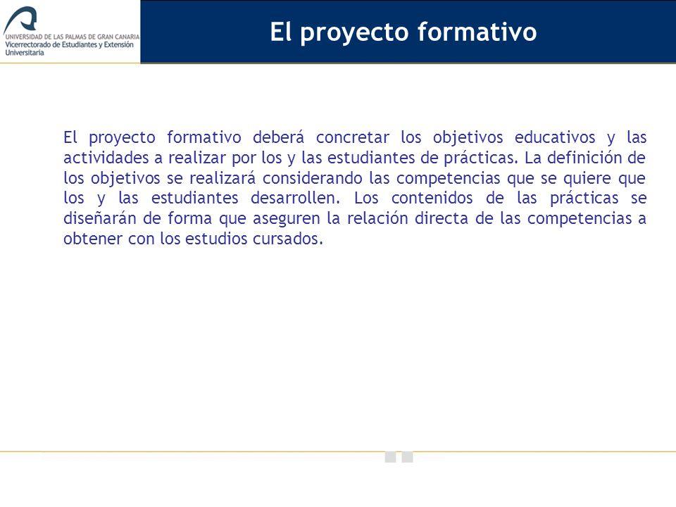 Vicerrectorado de Calidad e Innovación Educativa El proyecto formativo deberá concretar los objetivos educativos y las actividades a realizar por los y las estudiantes de prácticas.