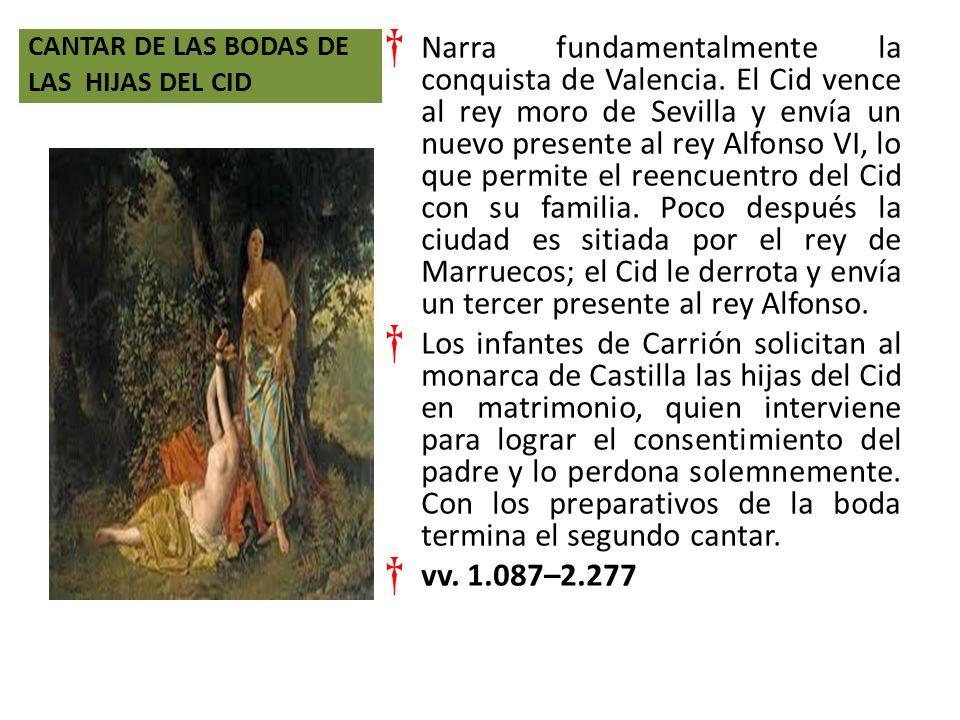 CANTAR DE LAS BODAS DE LAS HIJAS DEL CID Narra fundamentalmente la conquista de Valencia.