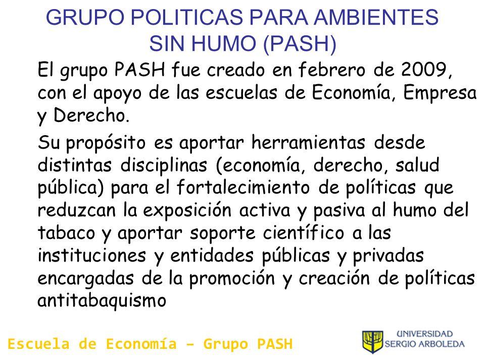 GRUPO POLITICAS PARA AMBIENTES SIN HUMO (PASH) El grupo PASH fue creado en febrero de 2009, con el apoyo de las escuelas de Economía, Empresa y Derech