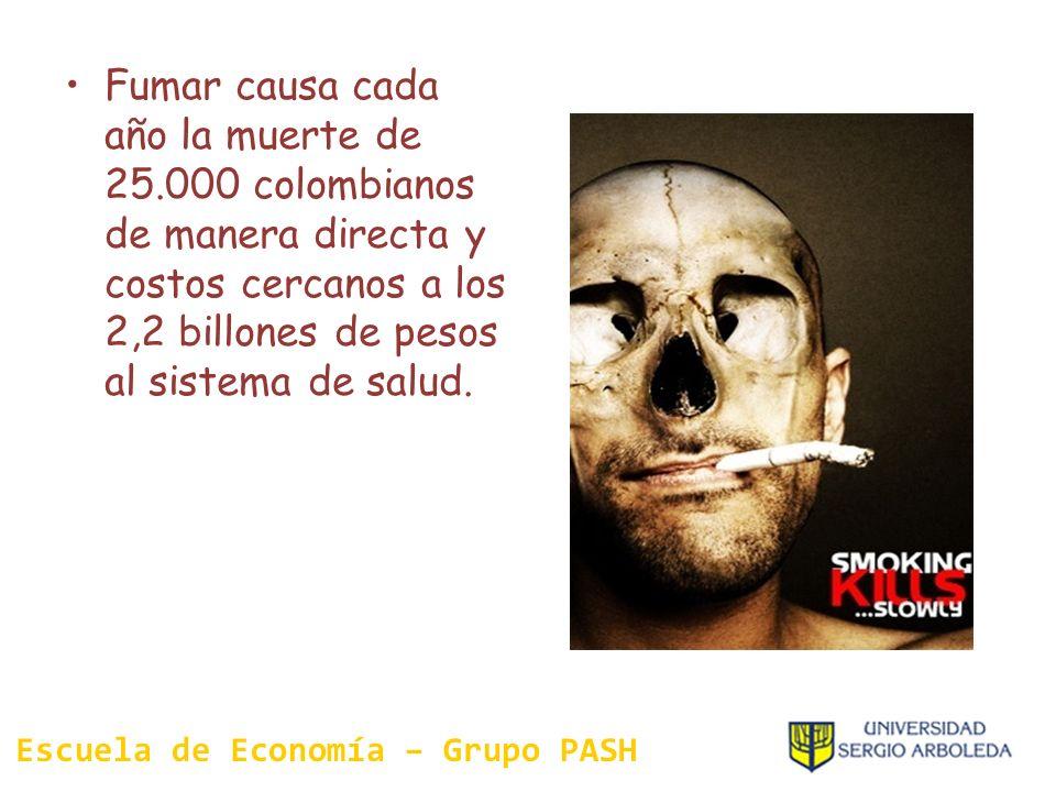 Fumar causa cada año la muerte de 25.000 colombianos de manera directa y costos cercanos a los 2,2 billones de pesos al sistema de salud. Escuela de E