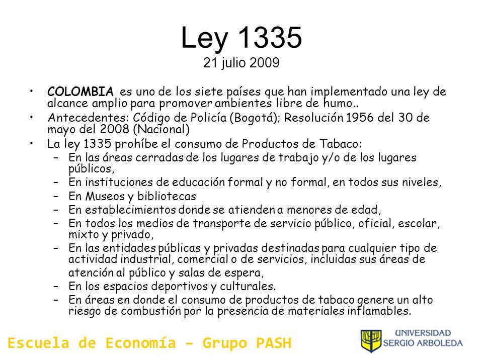 Ley 1335 21 julio 2009 COLOMBIA es uno de los siete países que han implementado una ley de alcance amplio para promover ambientes libre de humo.. Ante