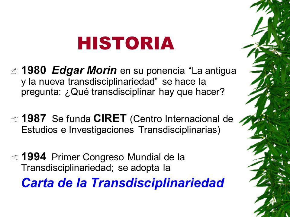 Prof. Miguel Cabrera CONSIDERACIONES GENERALES ACERCA DE LA CARTA DE LA TRANSDISCIPLINARIEDAD