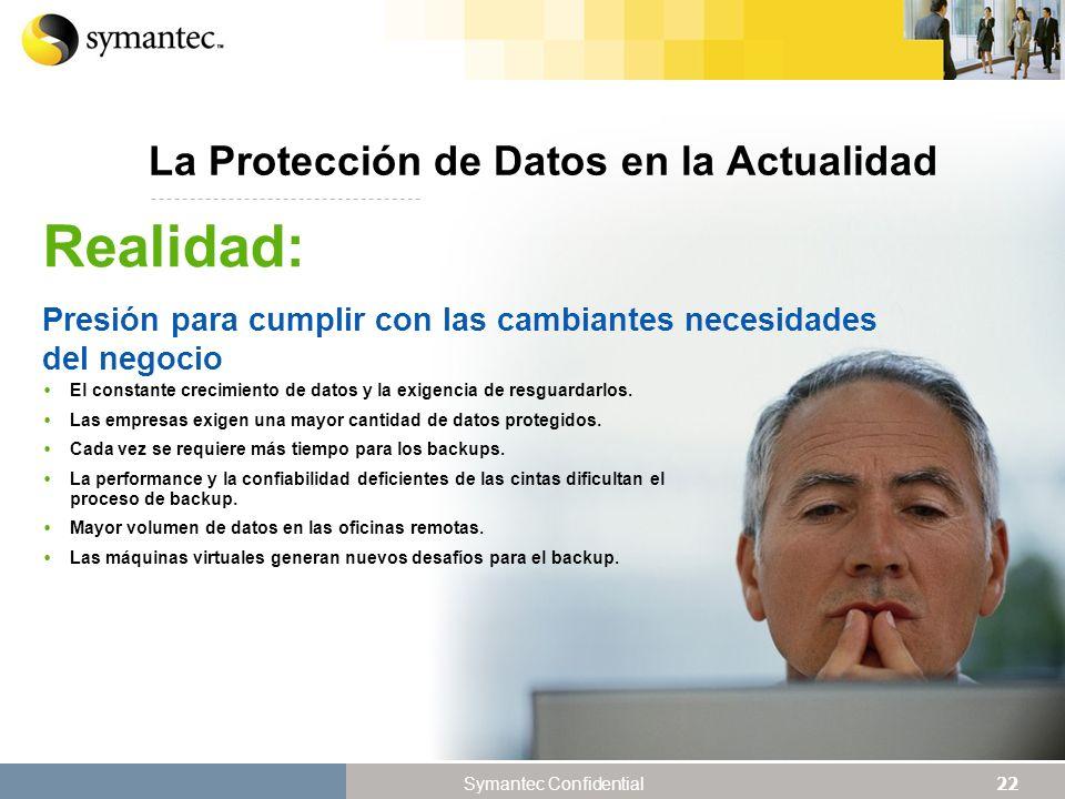 22 Symantec Confidential La Protección de Datos en la Actualidad El constante crecimiento de datos y la exigencia de resguardarlos.